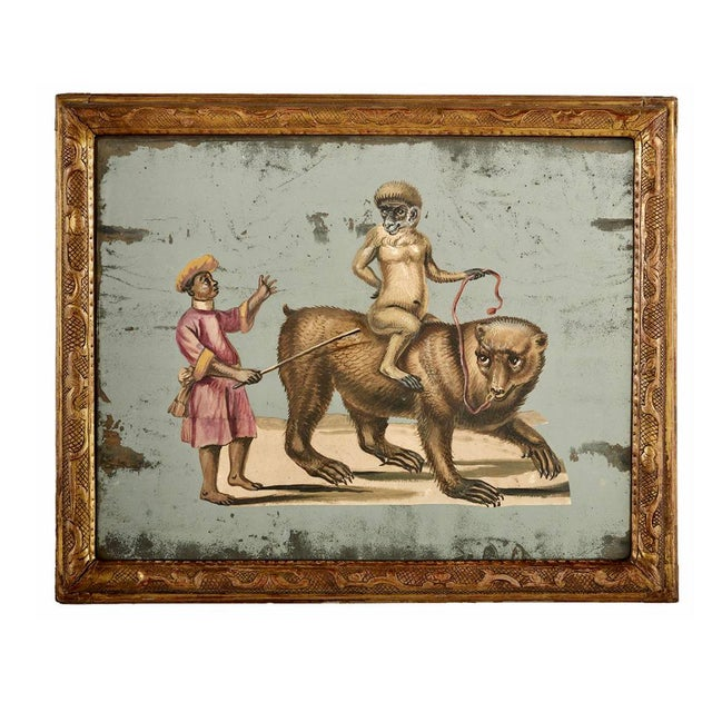 19th C. French Exotic Hand-Painted Decoupage Mirror, Animal Trainer, Monkey & Bear For Sale - Image 13 of 13