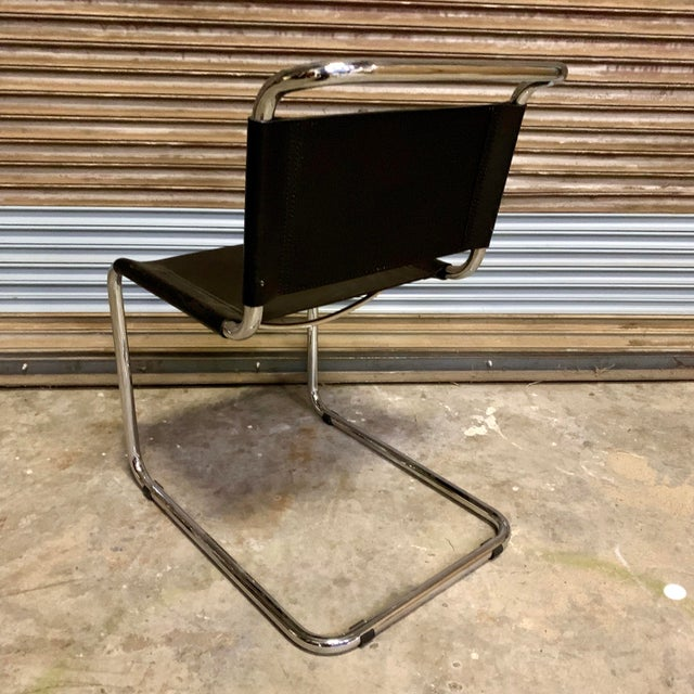 Animal Skin Vintage Mid Century Mart Stam Leather and Chrome Cantilever Chairs- A Pair For Sale - Image 7 of 13