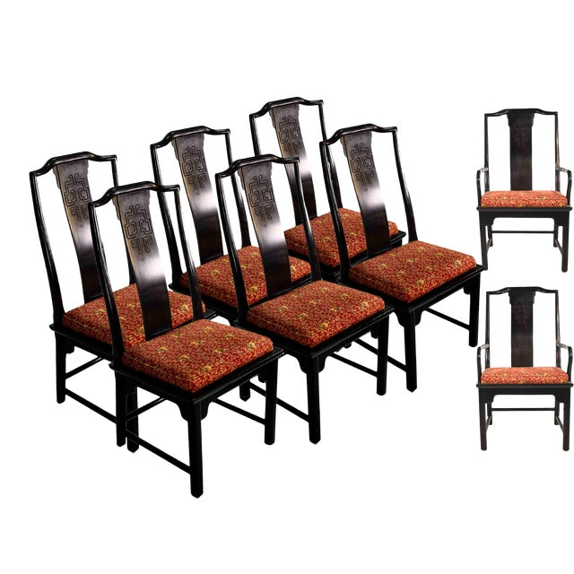1970s Chinoiserie Raymond Sobota Asian Dining Chairs by Century - Set of 8 For Sale