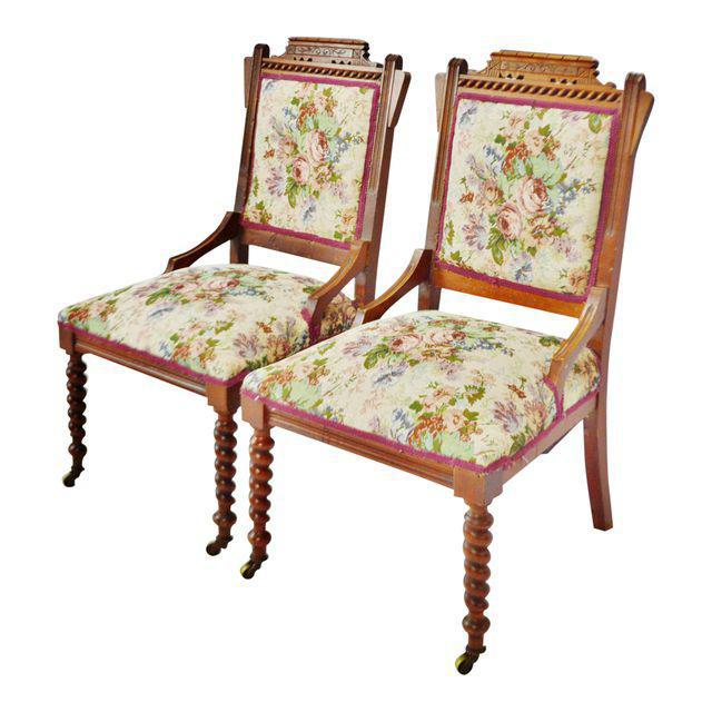 Victorian Eastlake Side Chairs - A Pair Condition consistent with age and history. Some tightening needed. Please use zoom...