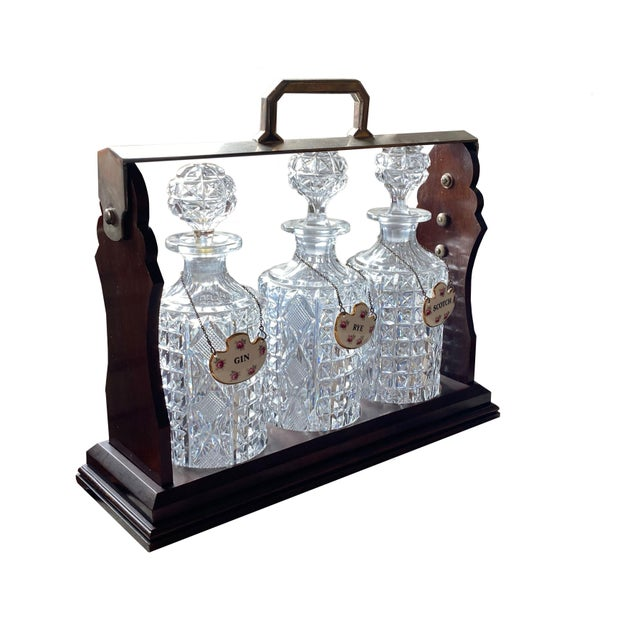 English Tantalus With Three Bottles and Key For Sale - Image 3 of 4