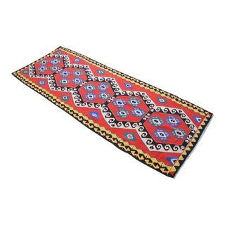 Hand Woven Vintage Turkish Kilim Rug Flatweave Wide Runner - 3′7″ × 9′6″ For Sale