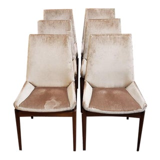 Set of Six Mid-Century Teak & Upholstered Dining Chairs C.1960 For Sale