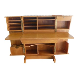 1970's Danish Modern Teak Secretary Desk For Sale