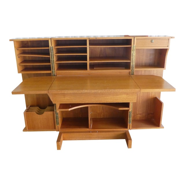 1970's Danish Modern Teak Secretary Desk For Sale