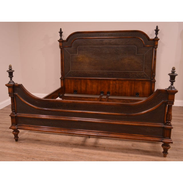 Napoleon III Theodore Alexander Armoury Collection Engraved Brass Paneled King Bed For Sale - Image 3 of 12