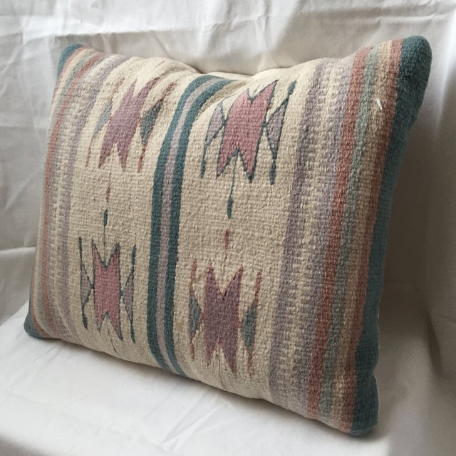 Southwestern Style Wool & Canvas Rug Pillow Chairish