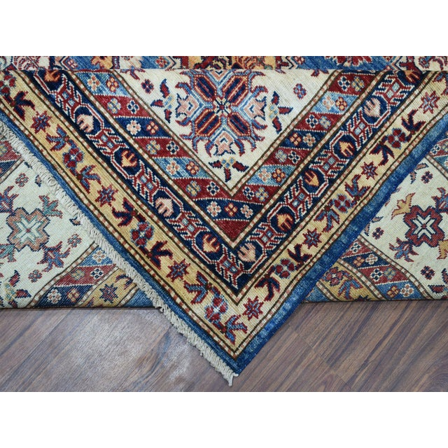 Textile Hand Knotted Blue Kazak Wool Rug For Sale - Image 7 of 13