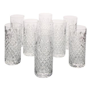 Vintage Lead Crystal Diamond Cut Glass High Ball Long Drink Cocktail Glasses - Set of 8 Pieces For Sale