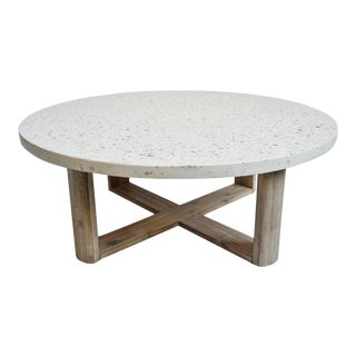 Outdoor 39 White Terrazzo Coffee Table For Sale