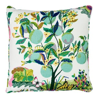 Schumacher Citrus Garden Pillow in Lime For Sale