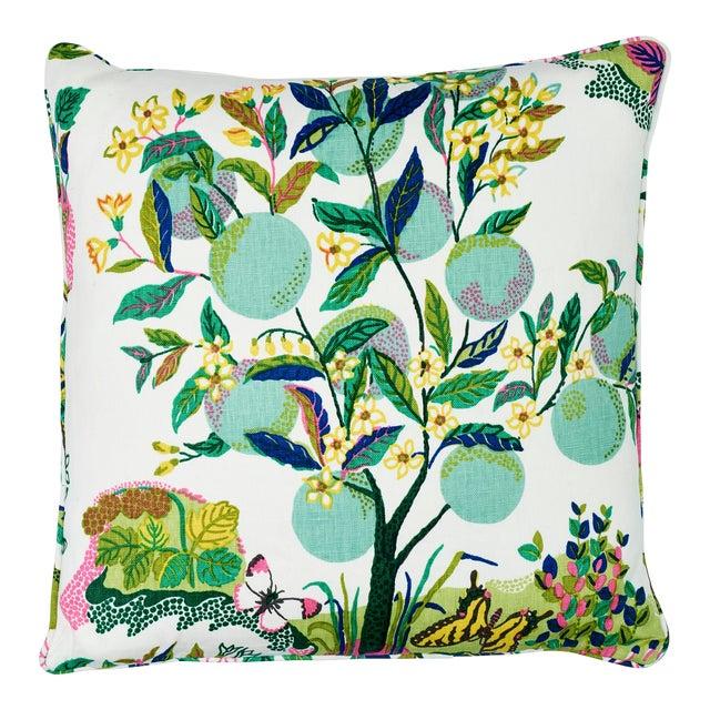 Schumacher Citrus Garden Pillow in Lime For Sale