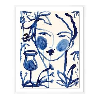 Flowers & Winde Indigo by Leslie Weaver in White Framed Paper, Small Art Print For Sale