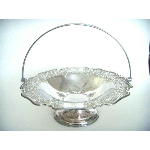 Antique silver plated reticulated swing handle cake presentation piece by Lloyd, Payne & Ariel, Manchester, England -...