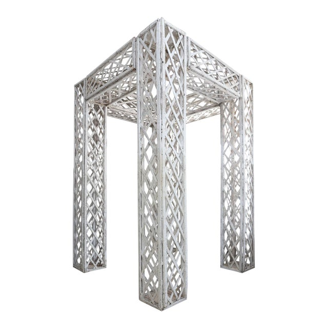 Vintage French Painted Trellis For Sale