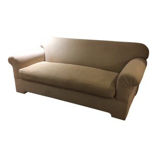 RJones Dallas Deco Sofa in Taupe Herringbone Design Upholstery For Sale