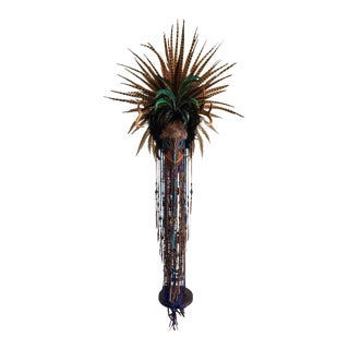 Monumental American Folk Art Rouge Taxidermy Headdress Mask For Sale
