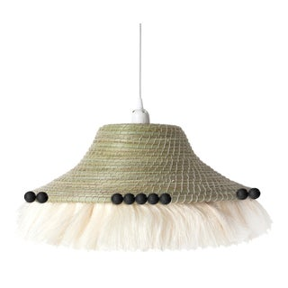Fringe Sisal Pendant Shade with Berries Natural/Cream & Black For Sale