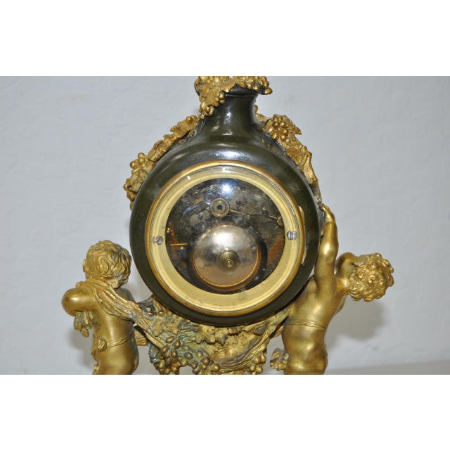 Auguste Moreau Bronze & Marble French Mantle Clock 19th Century For Sale - Image 5 of 10