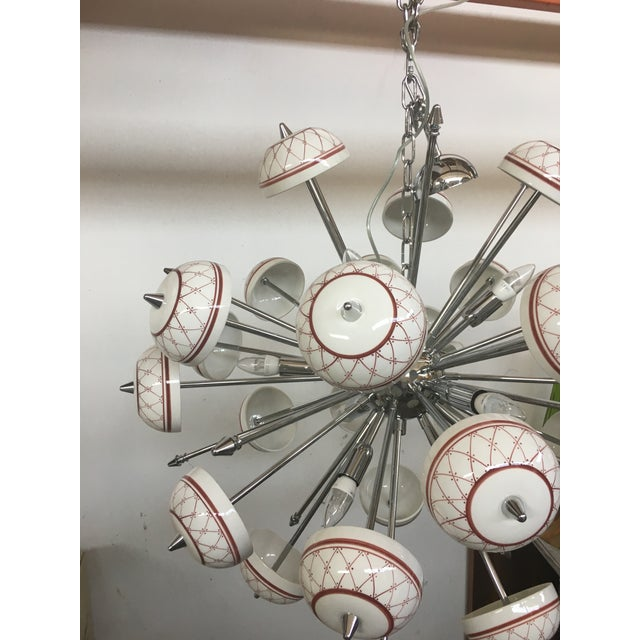 Italian Hand Made Painted Ceramic Sputnik Chandelier For Sale - Image 6 of 10