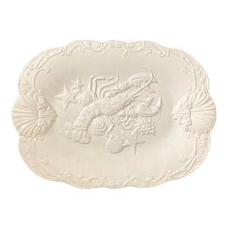 Vintage White Ceramic Lobster Platter - Made in Portugal For Sale