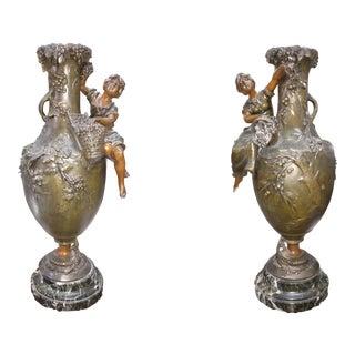 Child Picking Fruit Sculptural Bronze Vases - a Pair