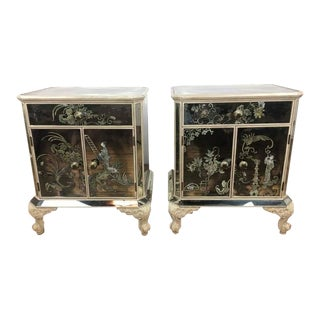Vintage Asian Style Mirrored Wood Nightstands - A Pair
