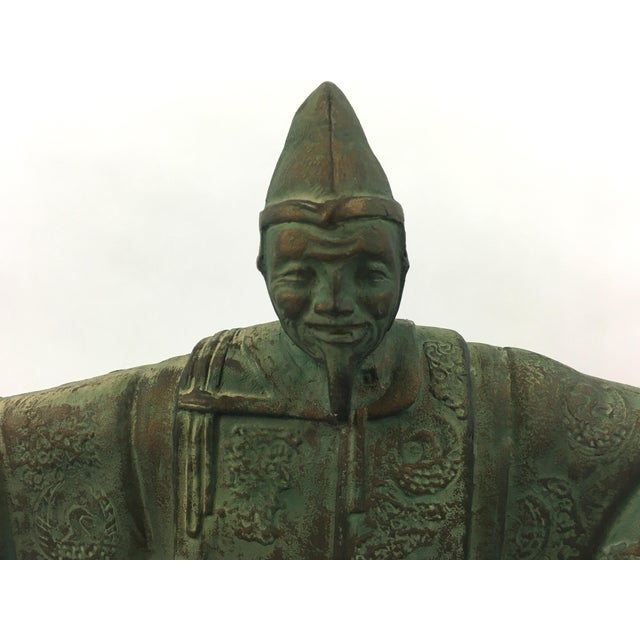 Vintage Bronze Chinese Emperor Statue For Sale - Image 4 of 5