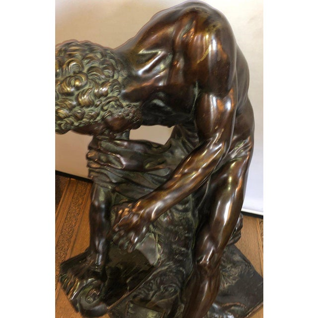 Figurative After Edme Dumont 19th Cent Large Bronze Depicting Male Figure of Milo De Croton For Sale - Image 3 of 13