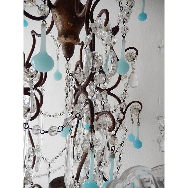 French Robins Egg Blue Opaline Beaded Chandelier, circa 1890 For Sale - Image 11 of 12