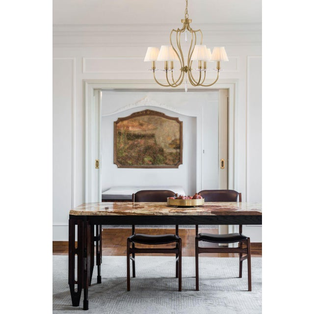 Mid-Century Modern Pimlico Aged Brass Chandelier For Sale - Image 3 of 6