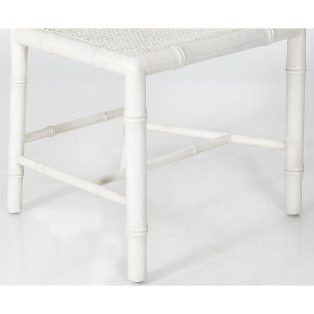 White Painted Faux Bamboo Side Chair - Image 6 of 8