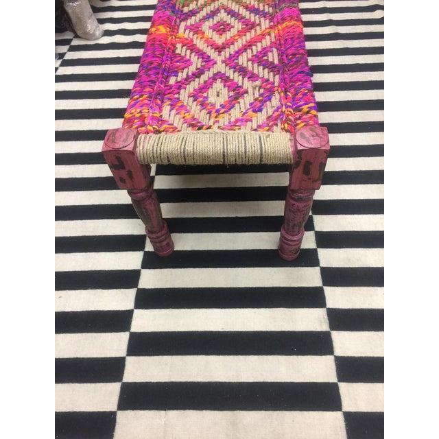 Coco Multicolored Woven Bench - Image 3 of 5