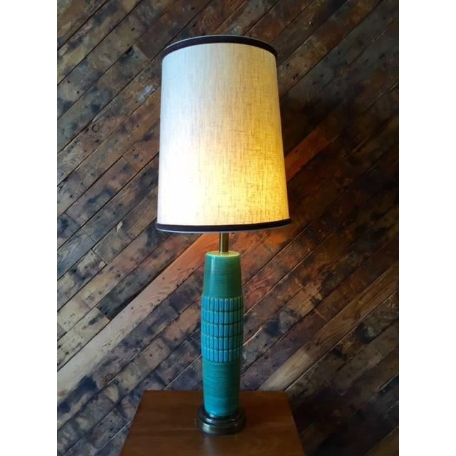 Mid Century Ceramic & Brass Lamp - Image 5 of 5