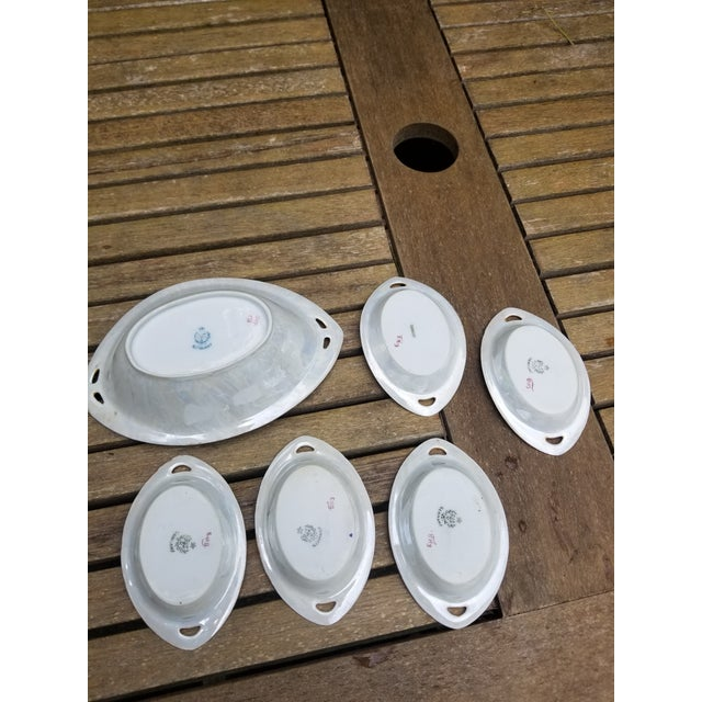 """Victorian """"Rs"""" China Nut Bowl With Five Little Serving Dishes - 6 Pieces For Sale - Image 10 of 11"""
