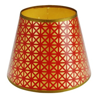 Mid Century Geometric Red & Gold Paper lampshade For Sale