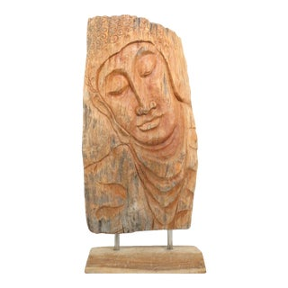1950s Hand Carved Hardwood Face of Buddha Free-Standing Panel Sculpture For Sale