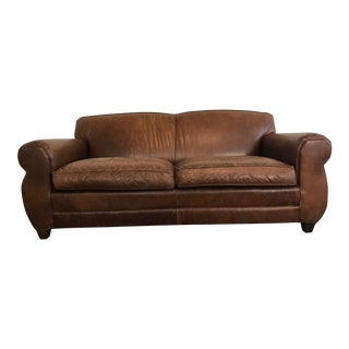 Mitchell Gold French Art-Deco Style Saddle Brown Leather Sofa