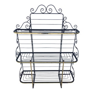 Mid Century French Country Brass and Iron Bakers Rack For Sale