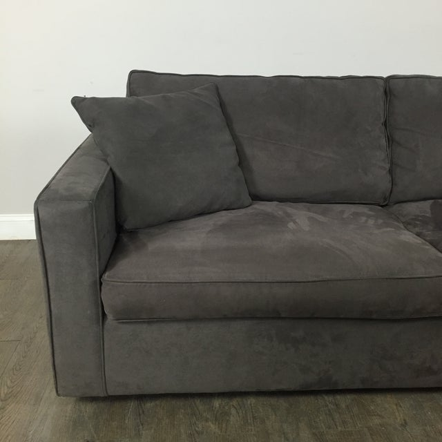 Room & Board Charcoal Suede Sofa - Image 4 of 11