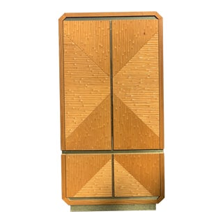 Vintage Italian Cane Rattan and Brass Oak Armoire For Sale