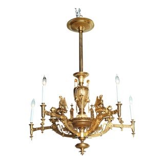 French Empire Style Gilt Bronze Five-Light Chandelier, 1880 For Sale