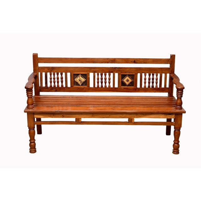 British Colonial Carved Teak Bench - Image 3 of 4