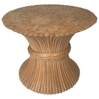 John and Elinor McGuire Round Rattan Coffee or Centre Table / Glass Available For Sale