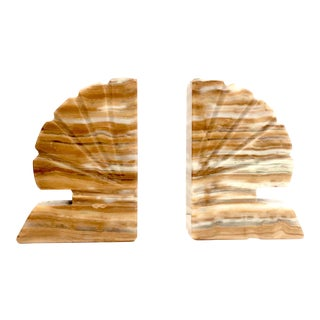 Yellow Onyx Shell Vintage Bookends -a Pair For Sale