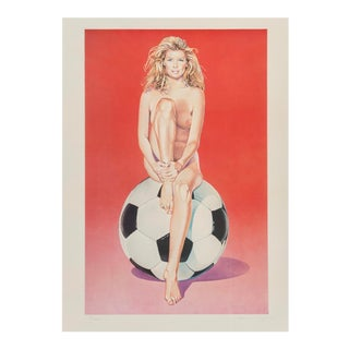 1998 Offset Lithograph by Mel Ramos, Fussball Fanny For Sale