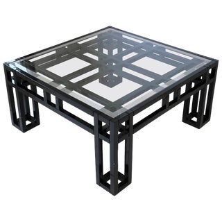 1980s Black Lacquer and Glass Geometric Square Coffee Table For Sale