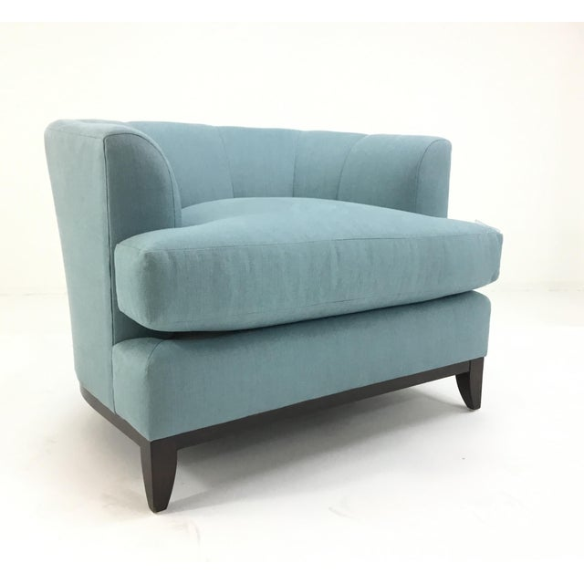 Wood Barbara Barry for Henredon Robins Egg Blue Channel Back Tub Club Chair For Sale - Image 7 of 7