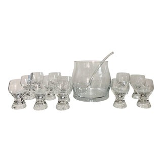 Set of Twelve Mid-Century Modern Glasses With Punch Bowl and Ladle For Sale