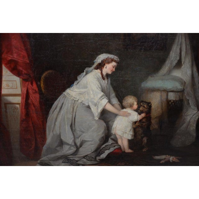 Mid 19th Century Robert Julius Beyschlag (Germany, 1838-1903) Mother & Child Oil Painting C.1870 For Sale - Image 5 of 9